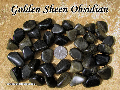 Obsidian Sheen tumbled stone