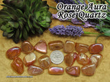 Orange Aura Rose Quartz tumbled stone