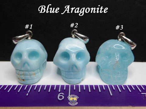 Aragonite Blue Crystal Skull Pendant