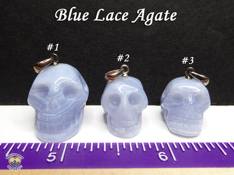 Blue Lace Agate Crystal Skull Pendant