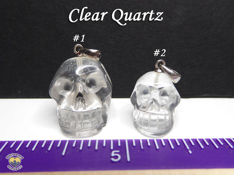 Clear Quartz Crystal Skull Pendant