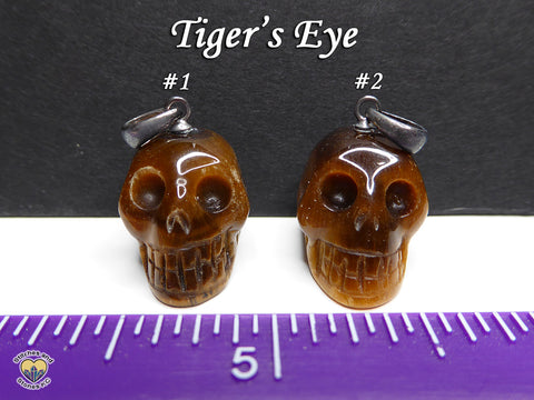 Tiger's Eye Crystal Skull Pendant