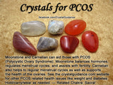Fertility Crystal Healing Set + PCOS, Sexual Libido and Passion - Carnelian, Garnet, Moonstone, Rose Quartz