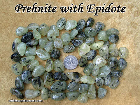 Prehnite with Epidote tumbled stone