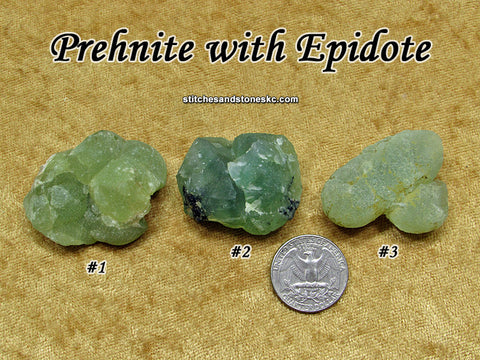 Prehnite with Epidote raw rough stone
