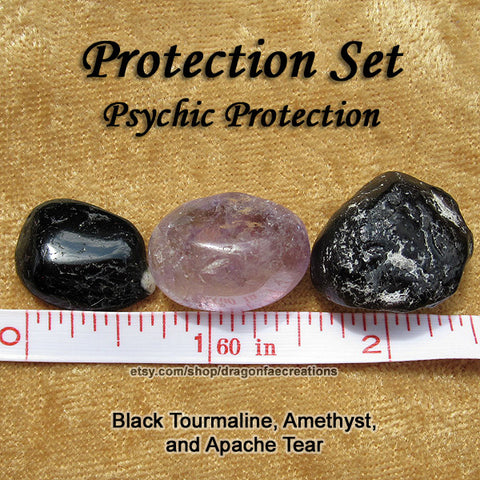 Protection Crystal Healing Set - Amethyst, Apache Tear, Black Obsidian, Black Tourmaline