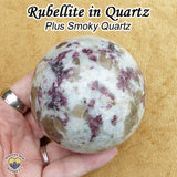 Rubellite in Quartz sphere