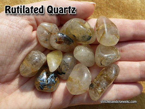 Rutilated Quartz tumbled stone — multiple sizes available