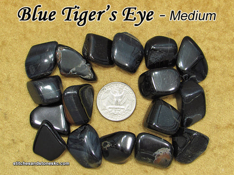 Tiger's Eye Blue Hawk's Eye tumbled stone
