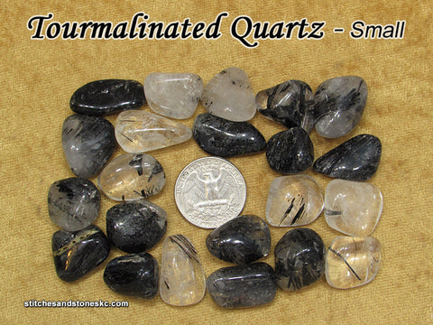 Tourmalinated Quartz tumbled stone — multiple sizes available