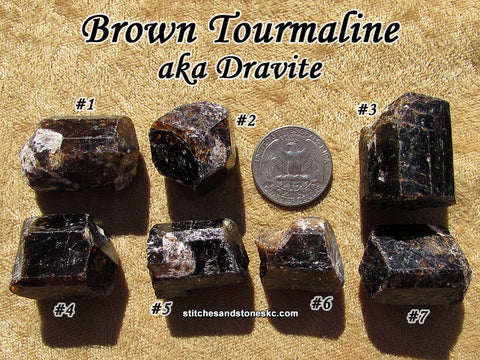 Tourmaline Brown Dravite natural raw rough stone