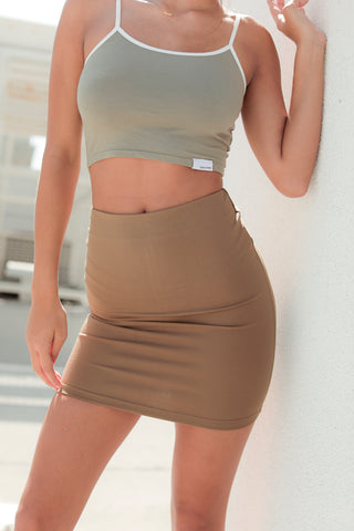 Monaco Fitted Skirt - OLIVE