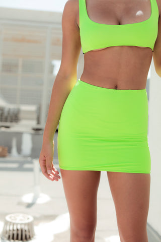 Bali fitted mini skirt - Neon green