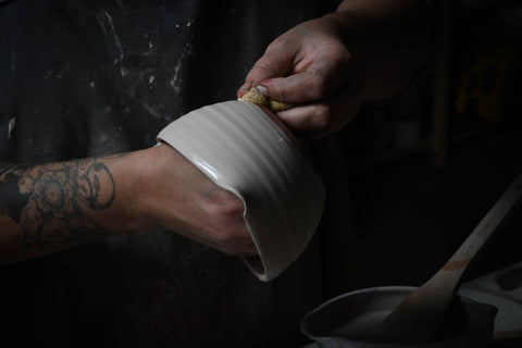 Rebecca Graves Prowse glazing pottery for nocrumbsleft