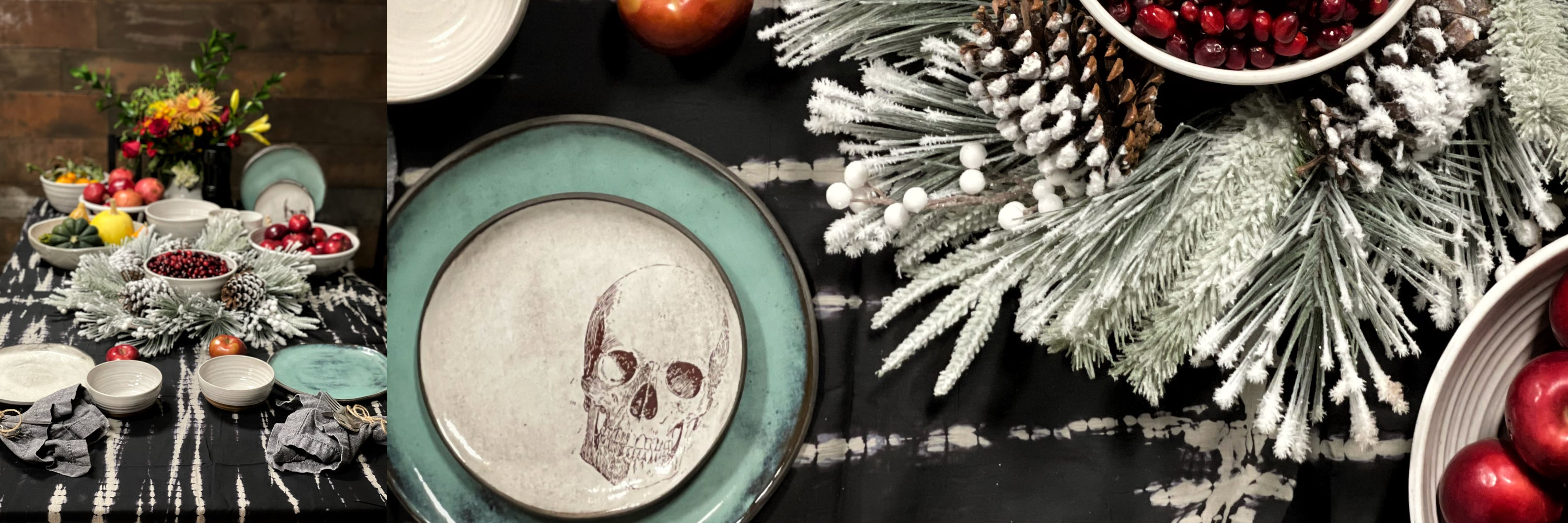 Image of the decorated table from the end and a close up of the Skull dessert plate on a larger turquoise dinner plate surrounded by bowls of fruit.