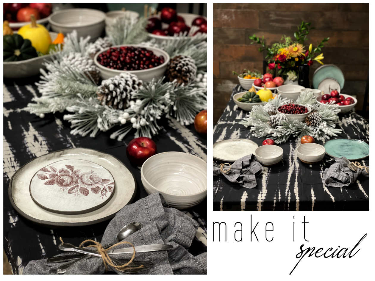 Images of the holiday table with vintage rose appetizer plate, classic white dinner plate and fruit