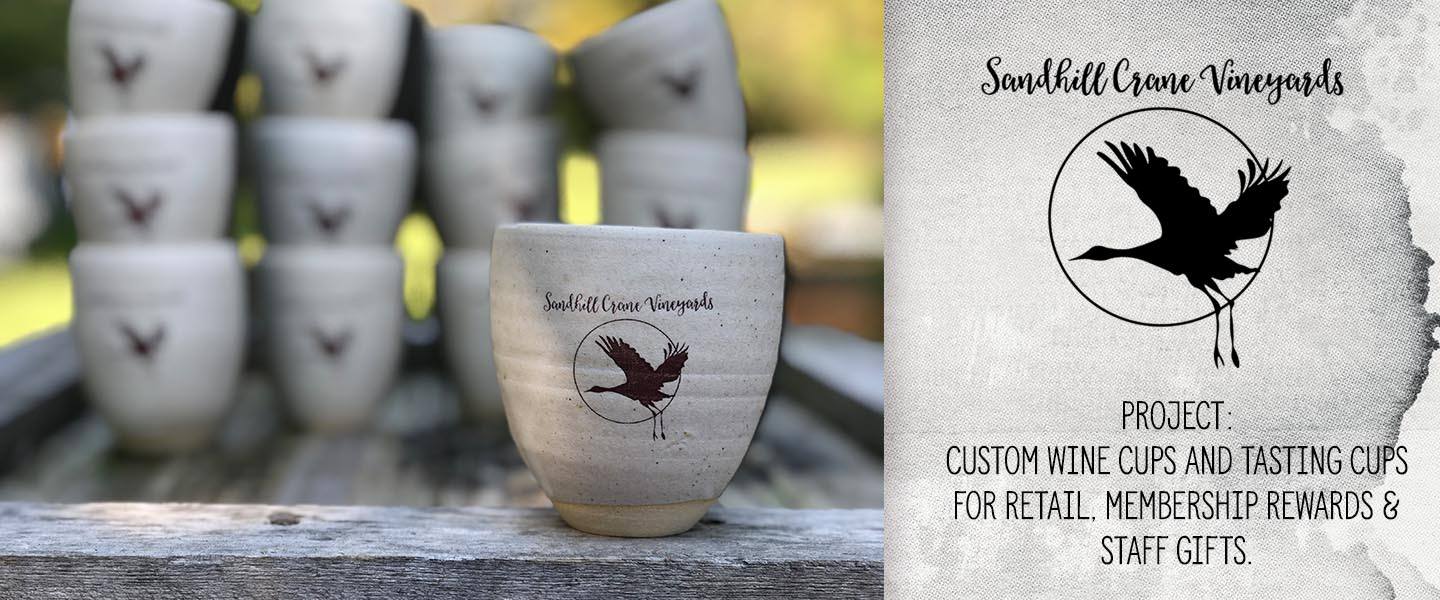 Sandhill Crane Vineyards | Michigan Winery | Gravesco Pottery Custom Logo Cup Indianapolis
