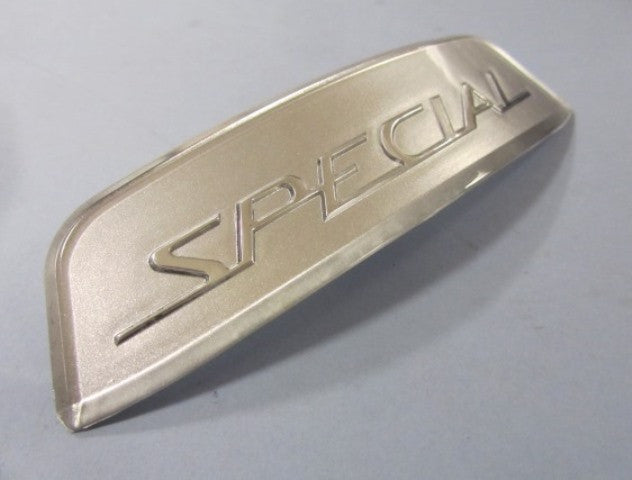 "Lambretta shaped silver ""SPECIAL"" rear frame badge - 19955093 19555072"