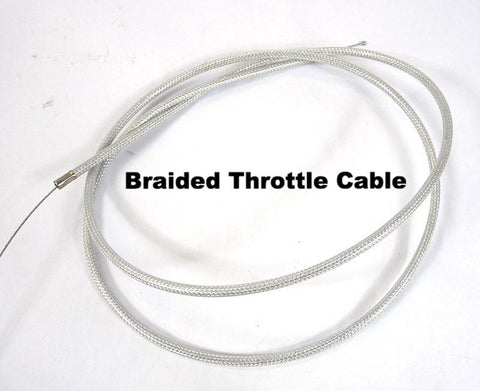 Lambretta and Vespa Braided Extra Long Friction Free Throttle Cable with Swedish Inner Cable