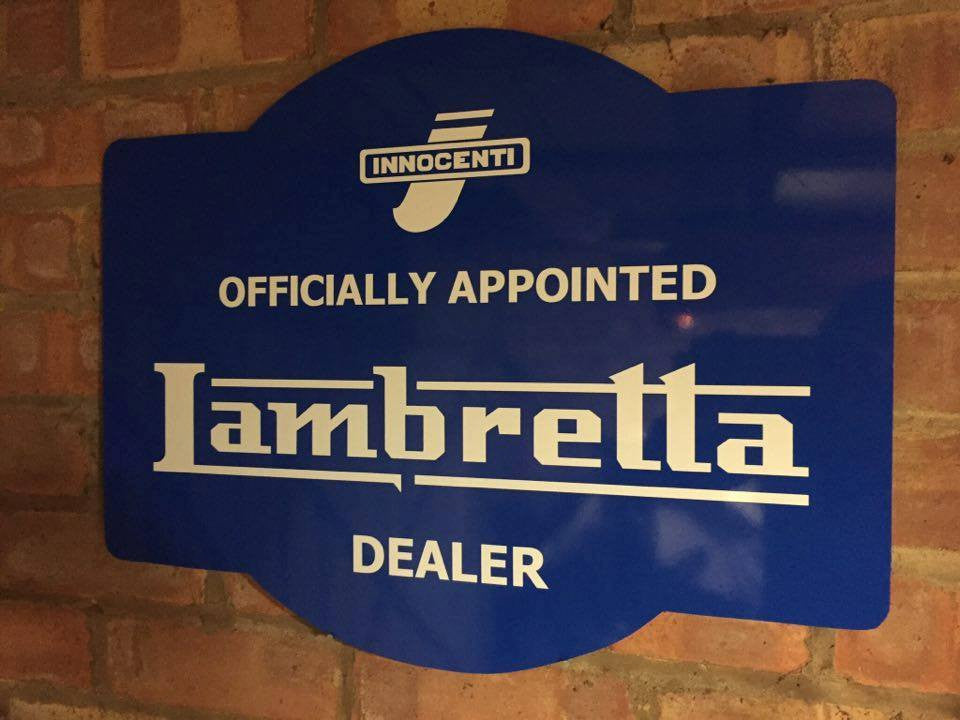 Lambretta Dealer Sign - Reproduction Blue