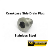 Lambretta Crankcase Side Magnetic Oil Drain Plug in Stainless Steel MB Developments MBP0069