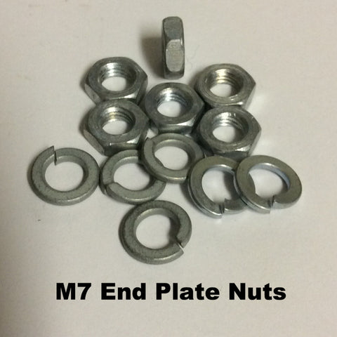 "Lambretta Gear Box End Plate ""M7 Jam Nut & Split Washers"" set of SIX - 82108011 / 73170074"