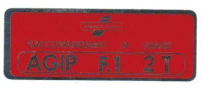 Lambretta petrol flap sticker in Red (post 1966)