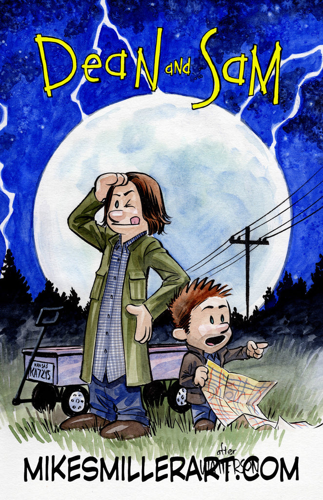Dean and Sam Calvin and Hobbes Homage 11x17 art print
