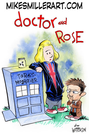 Doctor and Rose Calvin and Hobbes Homage 11x17 art print