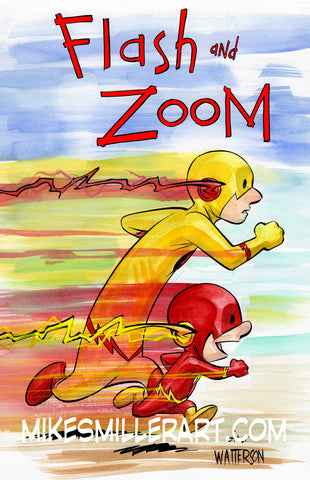Flash and Zoom Calvin and Hobbes Homage 11x17 art print