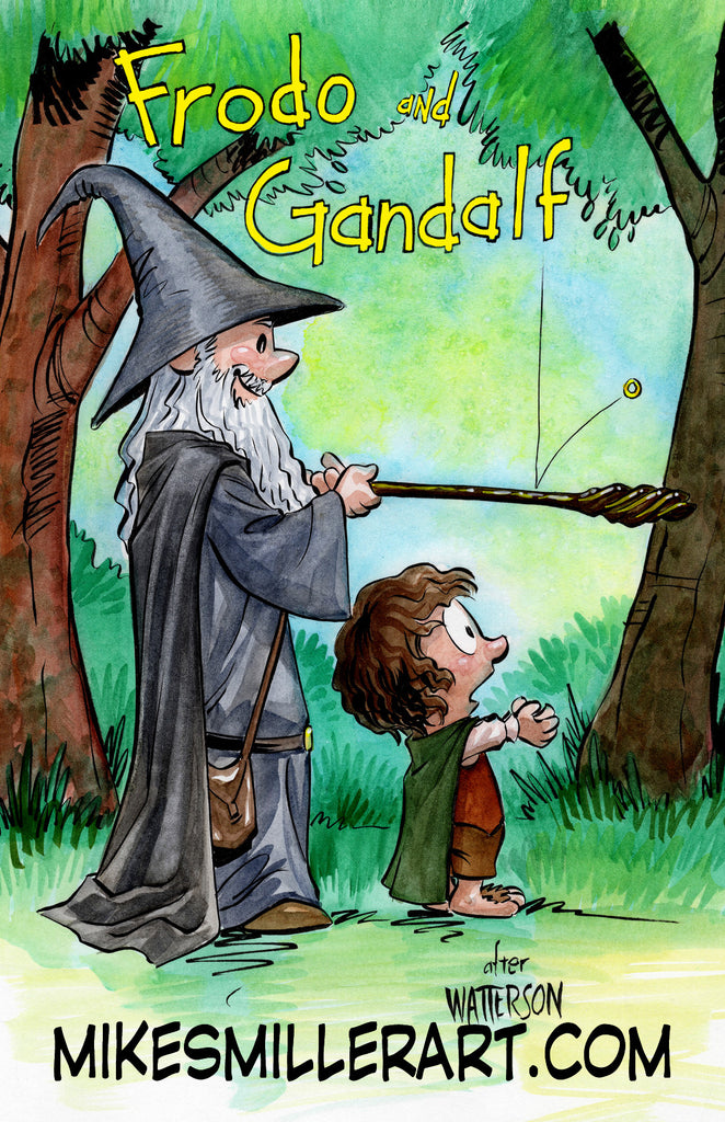 Frodo and Gandalf Calvin and Hobbes Homage 11x17 art print