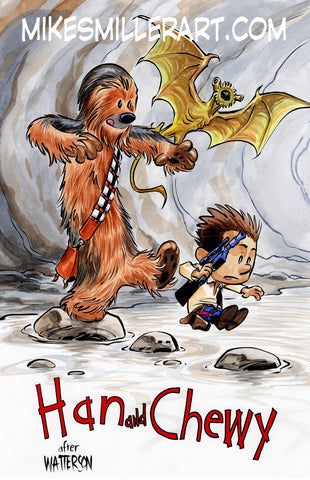 Han and Chewy Calvin and Hobbes Homage 11x17 art print