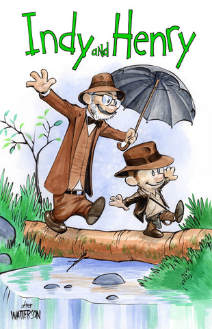 Indy and Henry Calvin and Hobbes Homage 11x17 art print