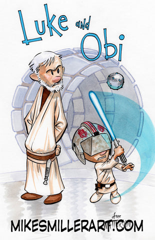 Luke and Obi Calvin and Hobbes Homage 11x17 art print