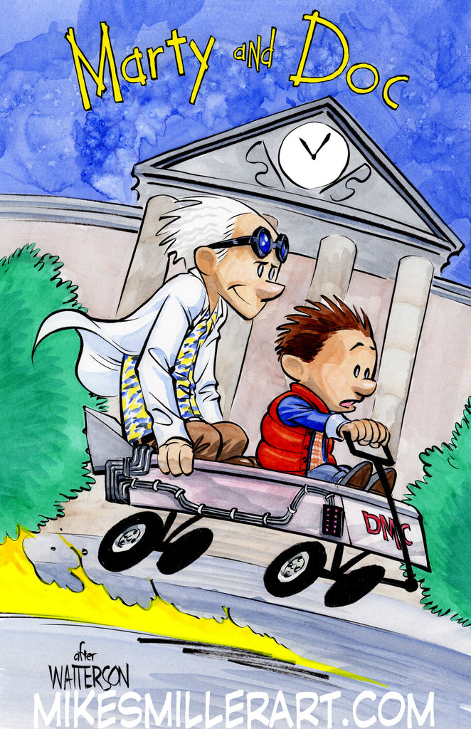 Marty and Doc Calvin and Hobbes Homage 11x17 art print
