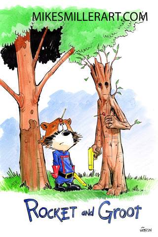 Rocket and Groot Sucker Guns Calvin and Hobbes Homage 11x17 art print