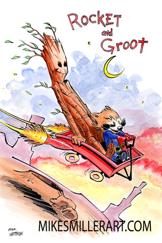 Rocket and Groot Rocket Wagon Calvin and Hobbes Homage 11x17 art print