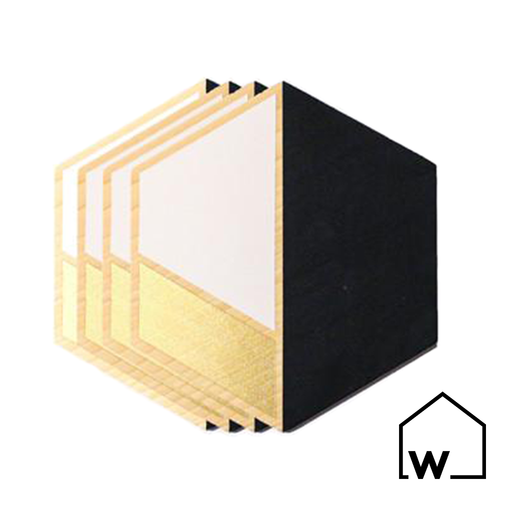 Black & Gold Hexagon Wooden Coasters