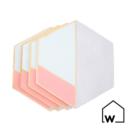 Rose & Mint Hexagon Wooden Coasters