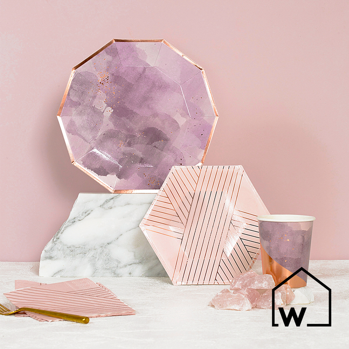 Large Purple & Rose Gold Foil Paper Plates