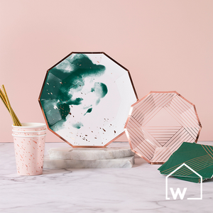 Large Green & Rose Gold Foil Paper Plates