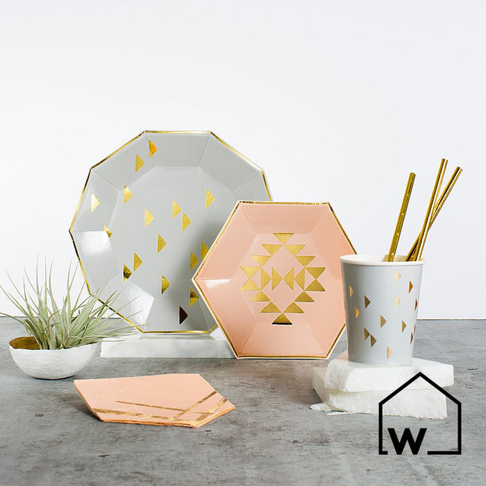 Large Grey & Gold Foil Paper Plates