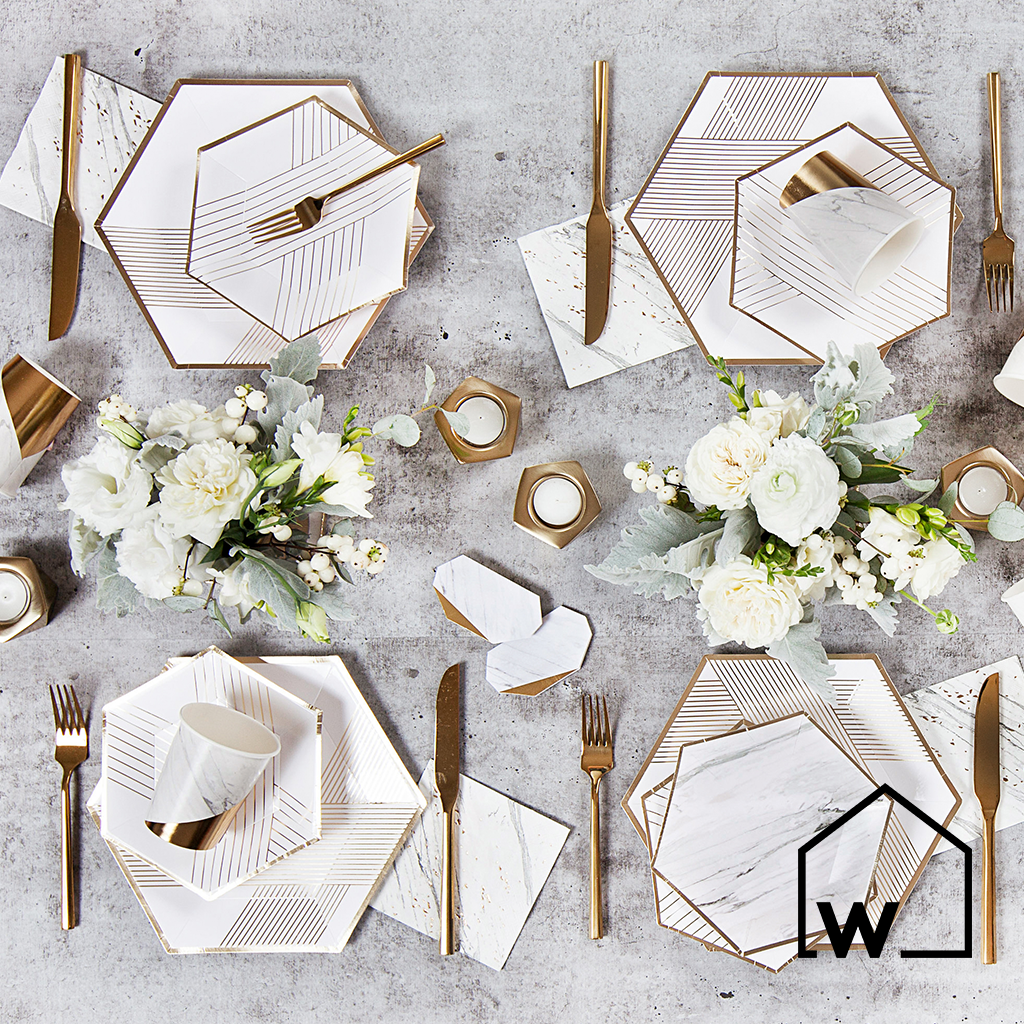 Large White & Gold Foil Paper Plates