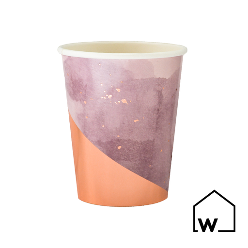 Purple & Rose Gold Foil Paper Cups