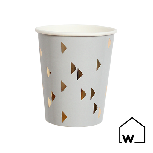 Grey & Gold Foil Paper Cups