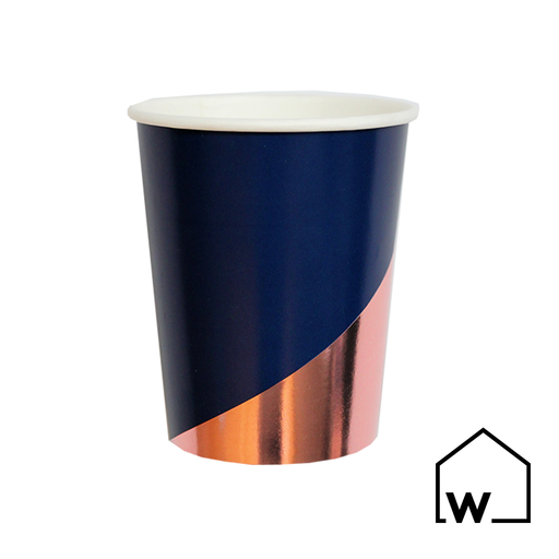 Navy & Rose Gold Foil Paper Cups