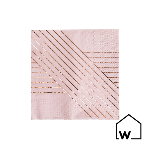 Pink Stripes & Rose Gold Foil Napkins
