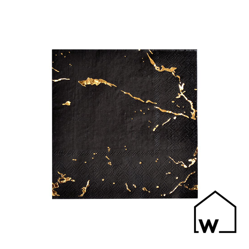 Black Marble & Gold Foil Napkins