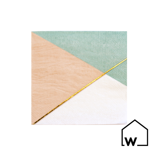 Blue, Pink & Gold Foil Napkins
