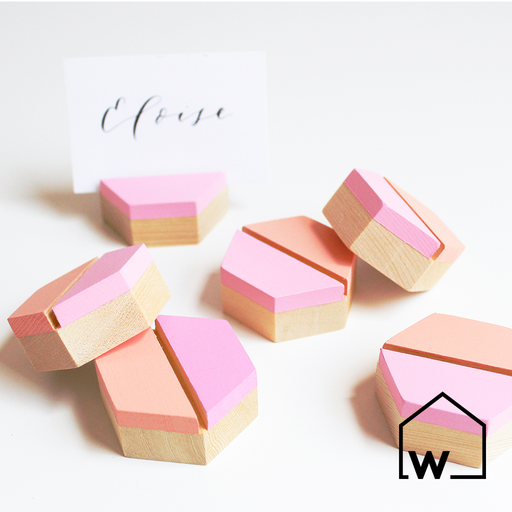 Blush & Peach Wooden Place Card Holders